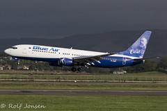 YR-BMP Boeing 737-800 Blue Air Glasgow airport EGPF 16.08-18