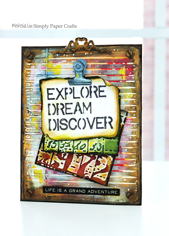 Meihsia Liu Simply Paper Crafts Note Holder Back to School Simon Says Stamp Tim Holtz Explore Dream Discover 1