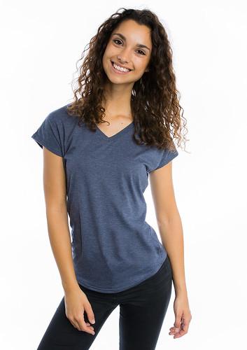 camiseta cuello v mujer