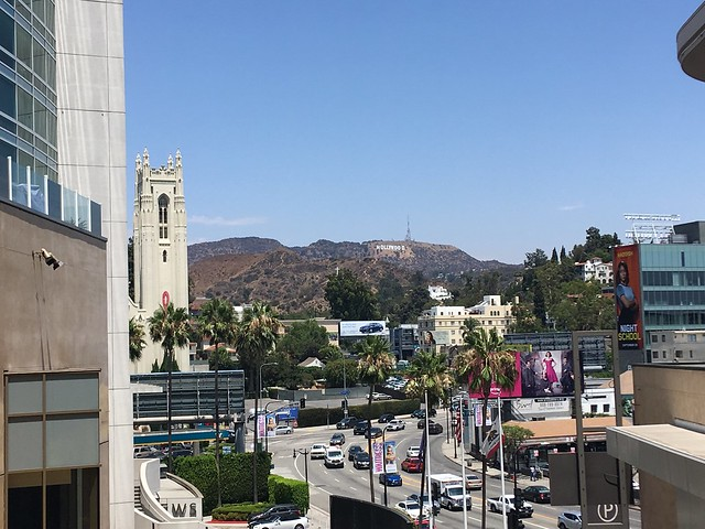 A view of The Hollywood Sign from Hollywood Blvd