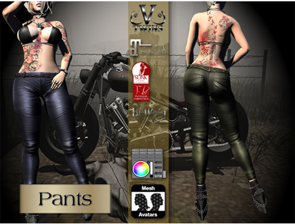 V-Twins Biker Clothes – Individual Items Mesh Pants Jeans – Menacing Casual Version Slink Belleza & Maitreya