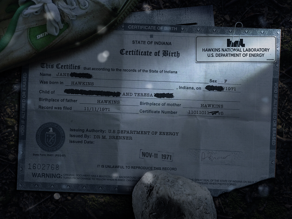 Stranger Things Birth Cert