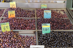 Different kinds of pickled olives at Kapani market in Thessaloniki