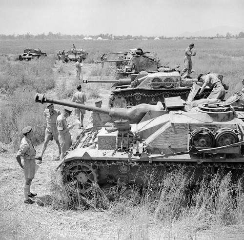 captured German equipment, including a StuG IV and a StuG 111 in  Italy, 2 June 1944.