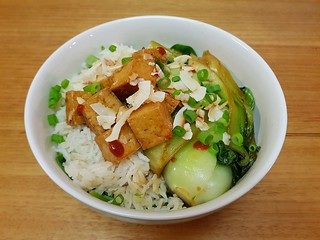 Coconut and Scallion Rice with Glazed Tofu and Bok Choy
