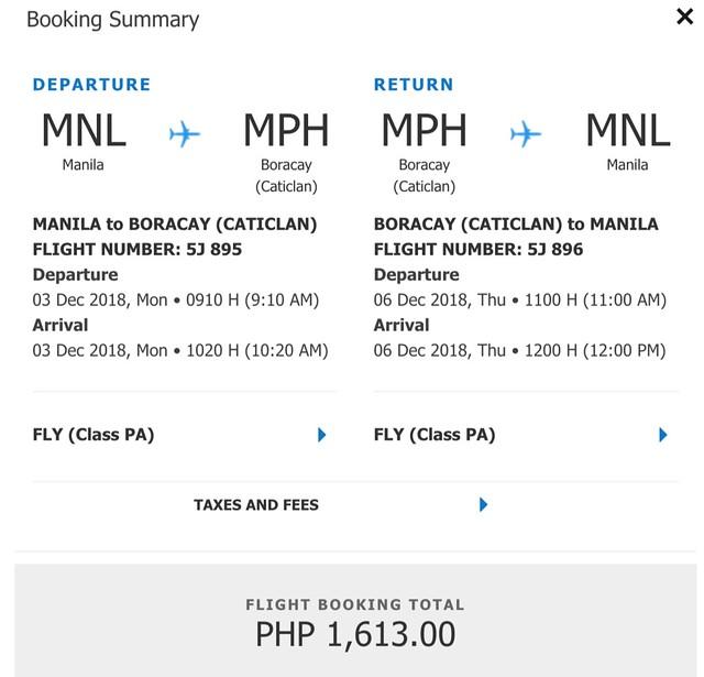 Cebu Pacific Promo Manila to Boracay Roundtrip Fare