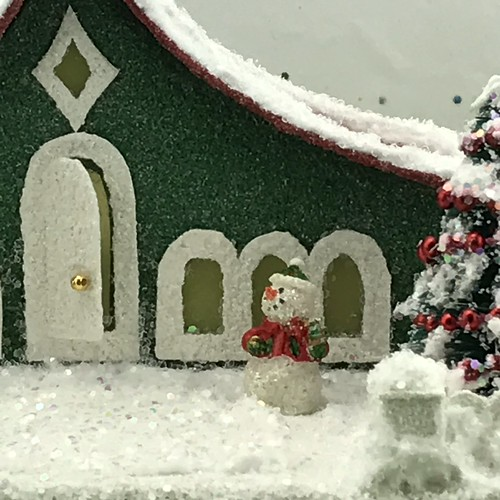 Green and Red Putz House with snowman