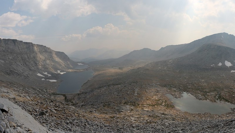 View south as I descend from Forester Pass on the John Muir Trail, with Caltech Peak on the far right