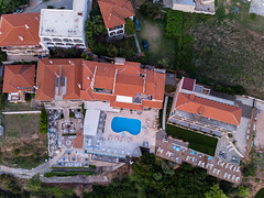 Bird's eye view of Rigas Hotel Afitos at sunset