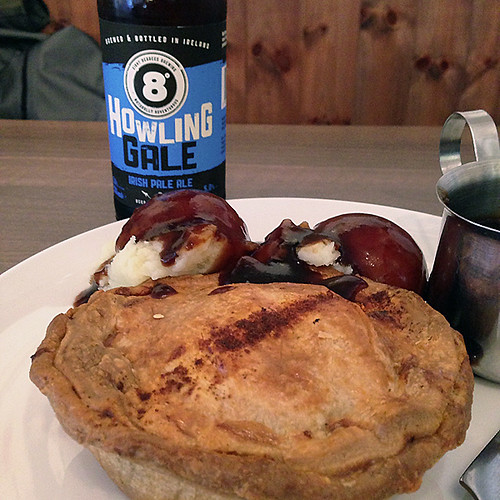 Craft beer with a Beef & Guinness pie at the Pieman Cafe in Dublin, Ireland