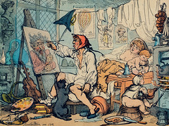 The Chamber of Genius by Thomas Rowlandson (1756-1827), a caricature of a poverty-stricken artist painting at his home with his family in the background. Original from Library of Congress. Digitally enhanced by rawpixel.