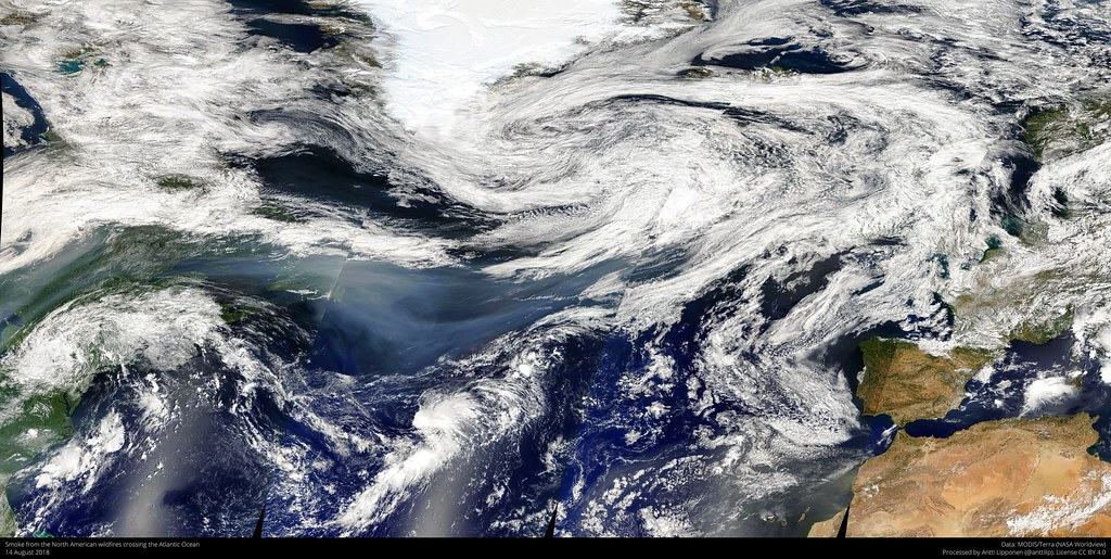 Smoke over the Atlantic Ocean