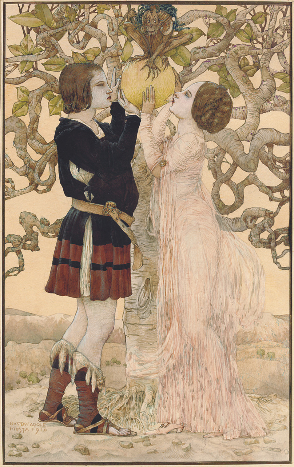 Gustav Adolf Mossa - Adam and Eve, 1910
