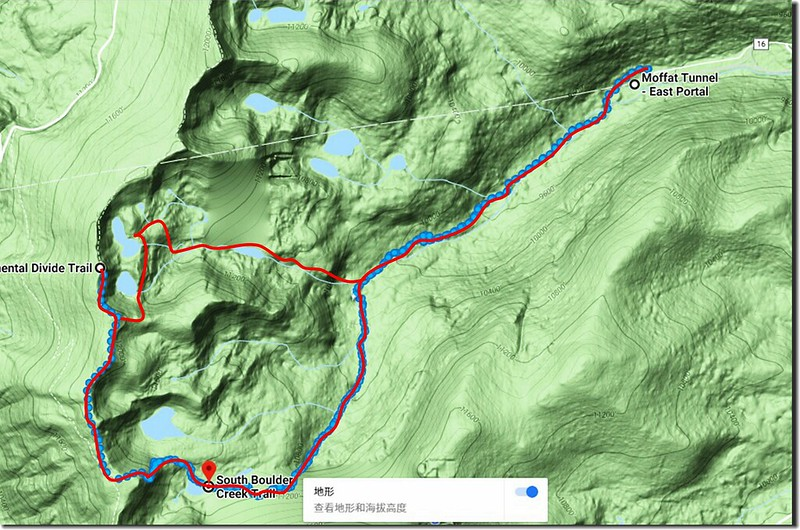 Hiking route of Clayton to Rogers Pass Lake loop