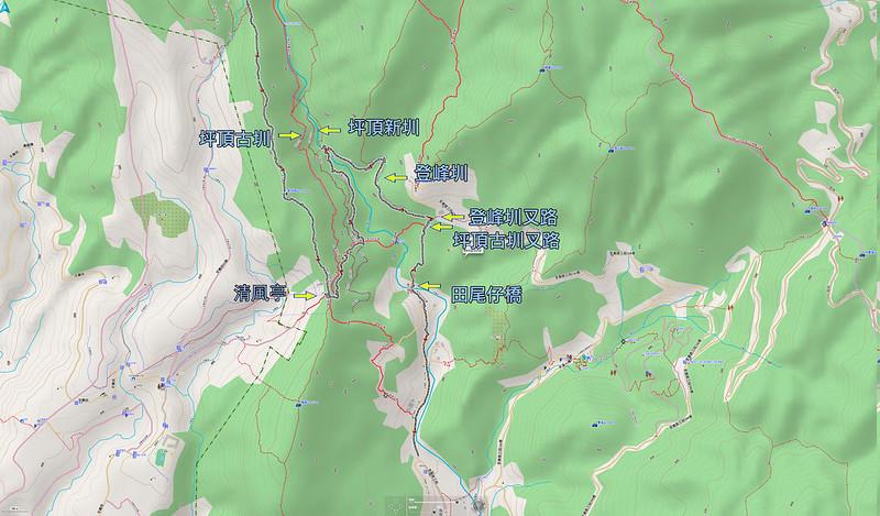 軌跡標示:坪頂古圳三條高度位置