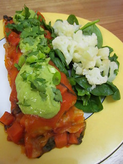 Sweet Potato & Black Bean Enchiladas with Avocado-Cilantro Cream Sauce