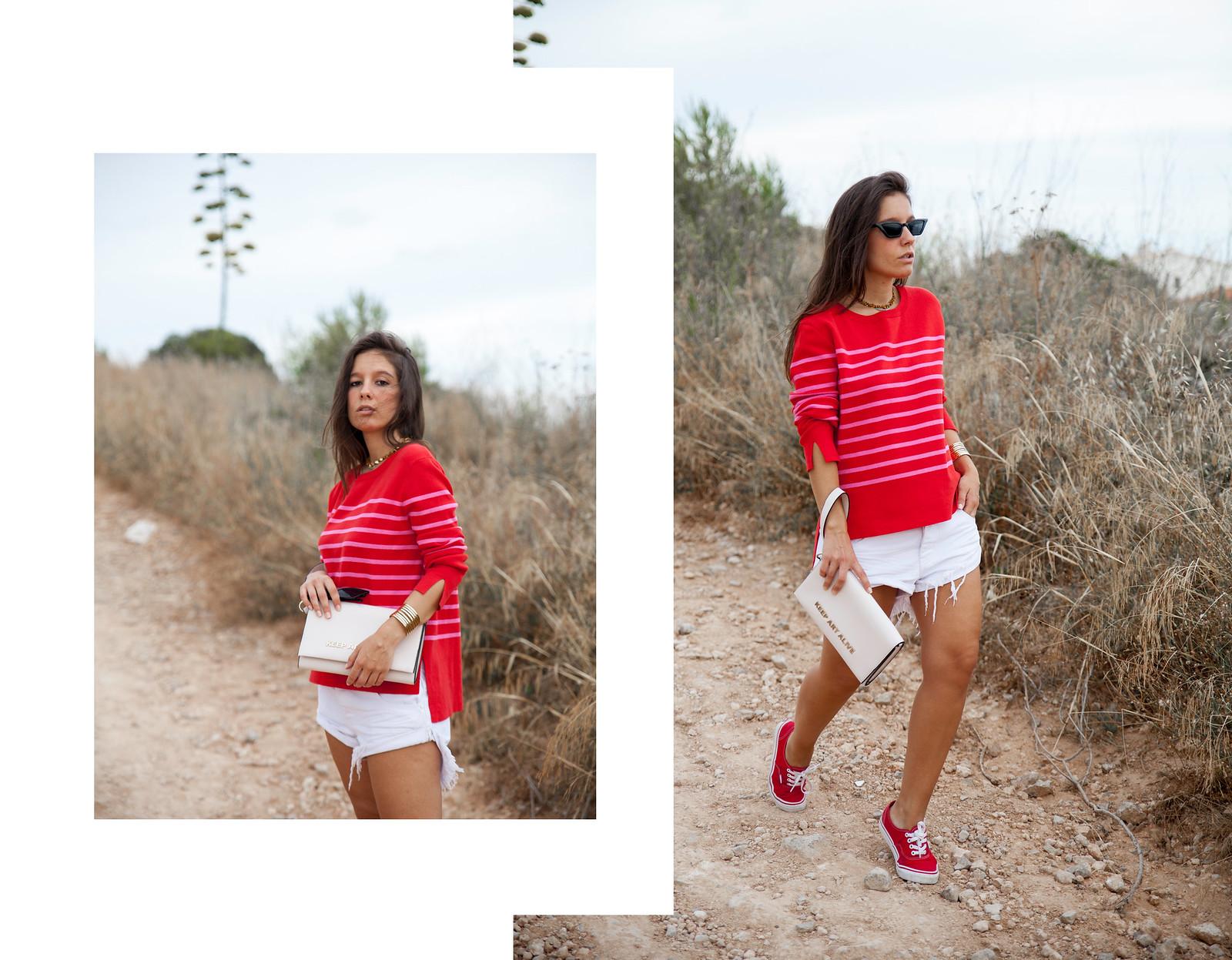 07_outfit_emabarazada_5_meses_jersey_parfois_rojo_rayas_rosas_shorts_oneteaspoon_blanco_theguestgirl_vans_girl