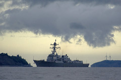 USS Momsen (DDG 92) arrives at the Port of Alaska in Anchorage, Aug. 15. (U.S. Air Force/Staff Sgt. James Richardson)