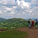The Malvern Hills, Worcestershire. View north from the hill called Herefordshire Beacon towards the Worcestershire Beacon, the highest hill in the Malverns.