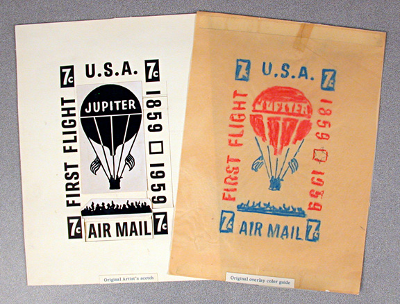"The black-and-white layout for the stamp removes Briggs's blue and red border lines and changes the upper balloon lines, stamp values, and sky to ""white""—actually, un-inked paper. The color sketch assigns red and blue inks to specific parts of the design; on the right side, a star is penciled in between the two years, as in the finished stamp. The printed stamp follows the color sketch, with one exception; the wording on the left changed from FIRST FLIGHT to LAFAYETTE, IND. Photo courtesy of the Smithsonian National Postal Museum, Washington, D.C."