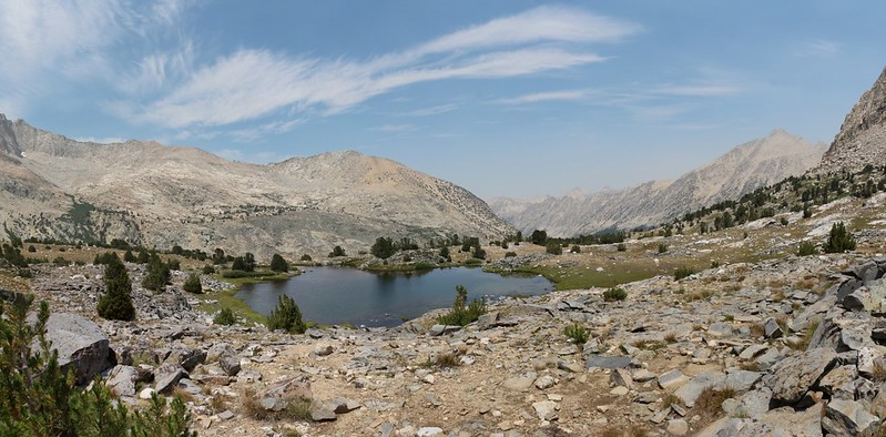 Panorama view north with a small pond from high in the Bubbs Creek drainage on the John Muir Trail