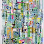 Sue Oehme; Spring Green; Oil and watercolor monoprint on Rives BFK paper; 55x40; 2018 - Connected by Color at the Arvada Center