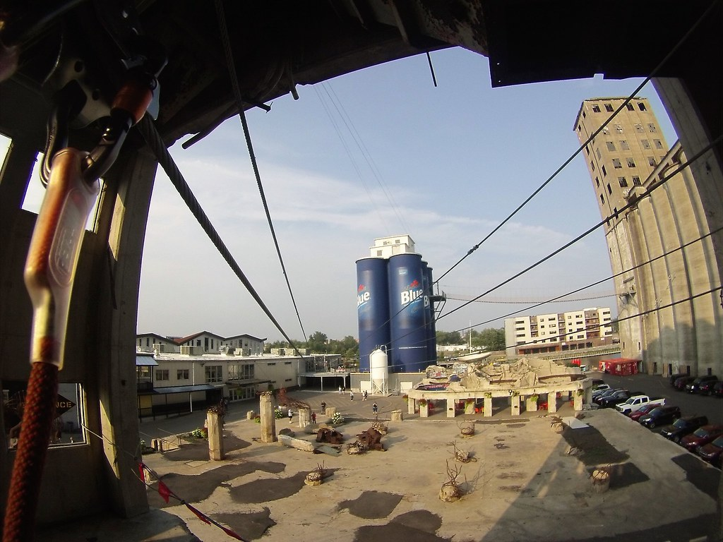 Ziplining at Buffalo RiverWorks, the Old Grain Silos, Buffalo, N.Y., Aug. 15, 2018