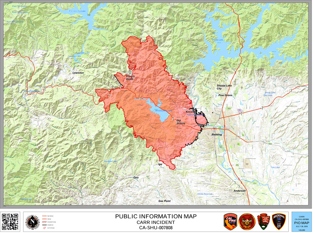 Carr Fire Map, 30 July 2018