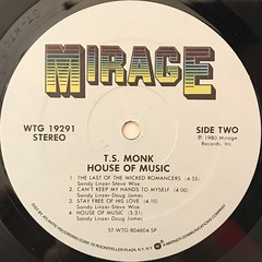 T.S. MONK:HOUSE OF MUSIC(LABEL SIDE-B)