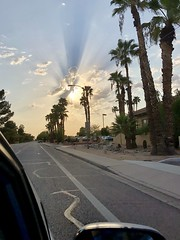 Rays thru clouds shot from car