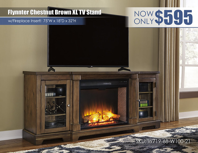 Flynnter Chestnut Brown XL TV Stand wFireplace_W719-68-W100-21