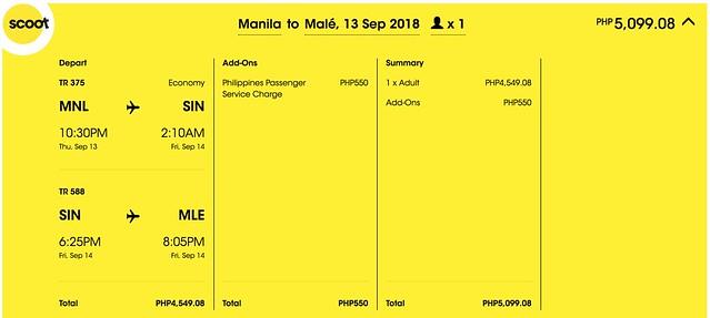 Scoot Promo Manila to Maldives One Way
