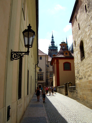 beautiful street inside castle complex