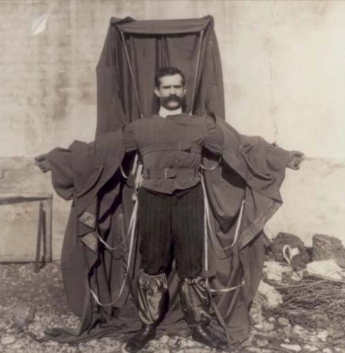 : Image of Franz Reichelt wearing his parachute suit, circa 1912.