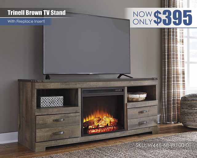 Trinell Brown TV Stand wFireplace_W446-68-W100-01