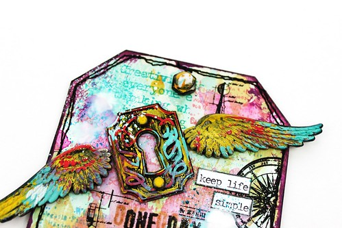 Meihsia Liu Simply Paper Crafts Mixed Media Tag Splatters and Sprinkles Simon Says Stamp Challenge Tim Holtz 2