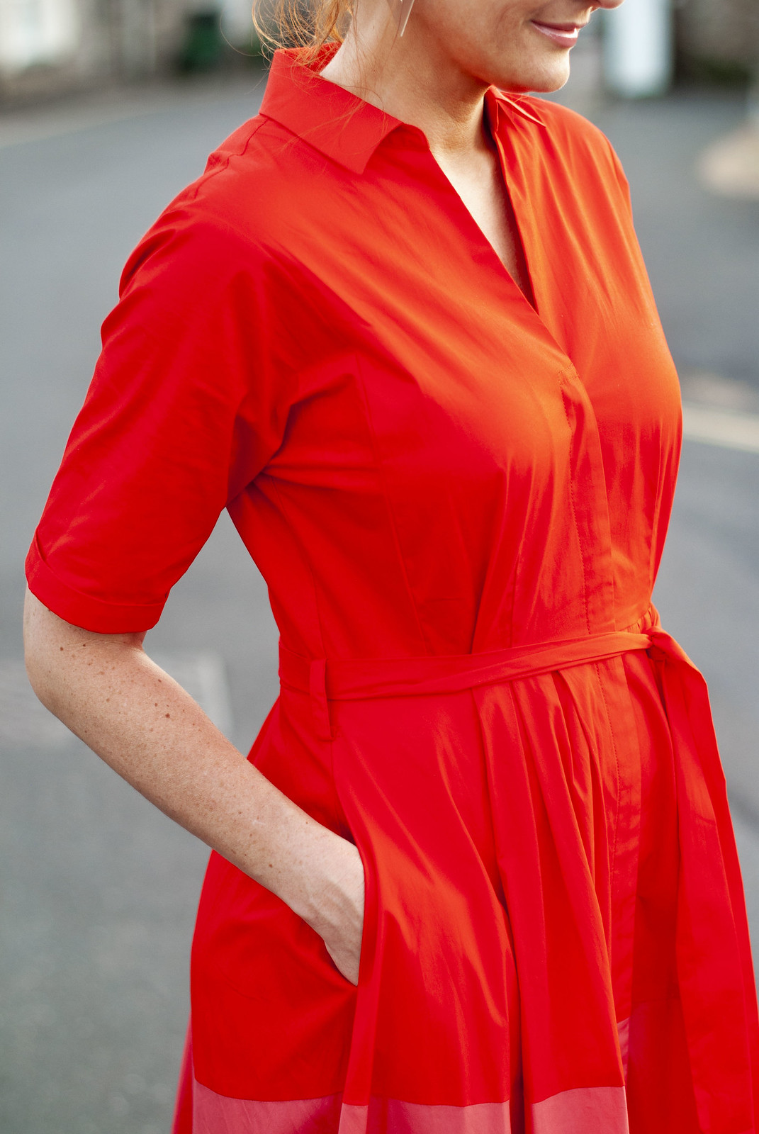 The Perfect Bold, Smart Summer Dress: A Red Ombré Shirt Dress | Not Dressed As Lamb, fashion for women over 40