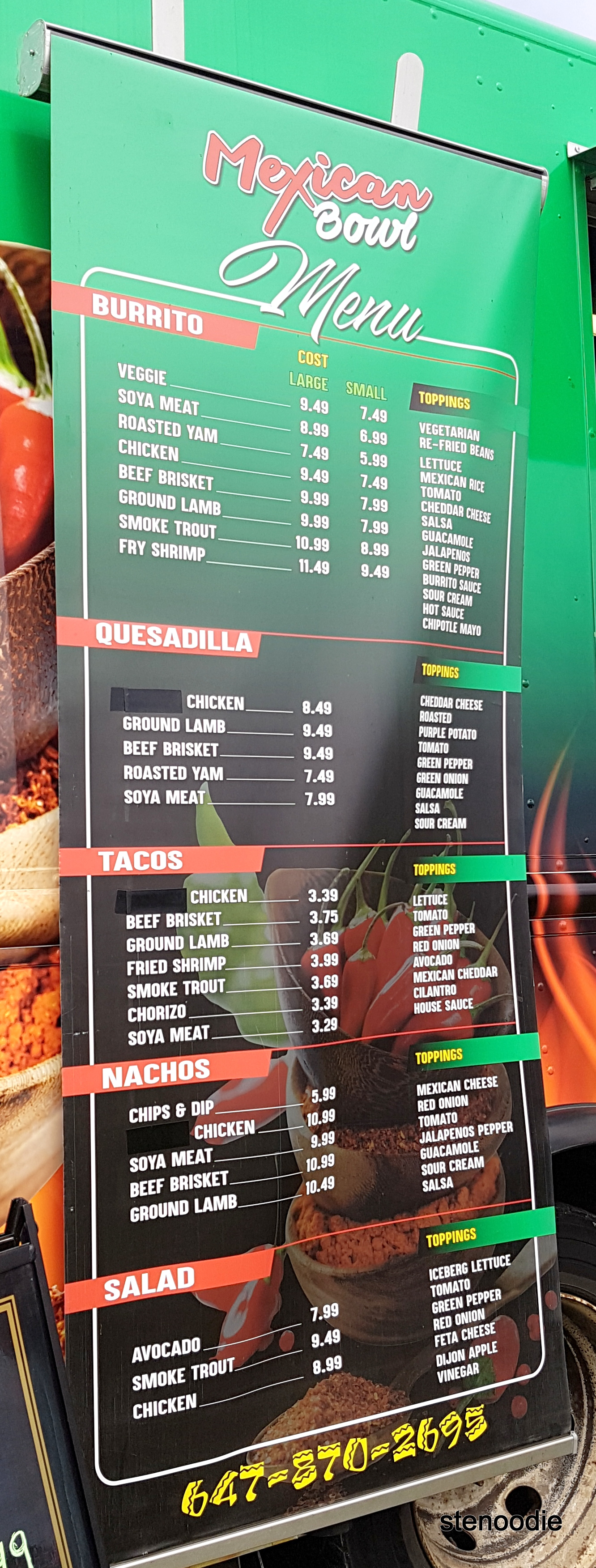 Mexican Bowl food truck menu and prices
