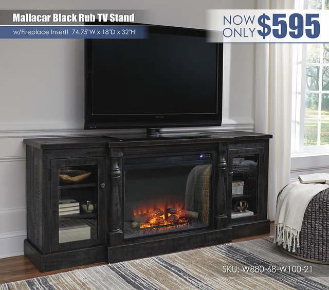 Mallacar Black Rub TV Stand wFireplace_W880-68-W100-21