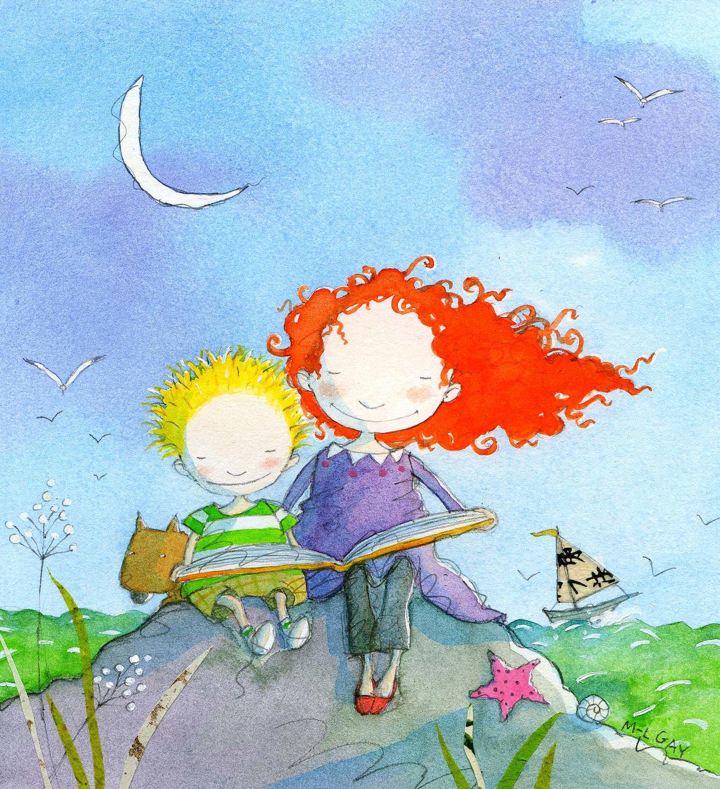 Stella and Sam reading. Image ©Groundwood Books