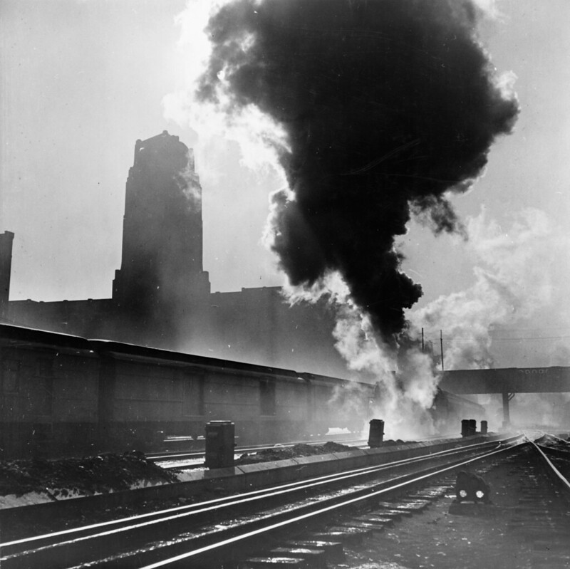 Chicago, Illinois. Train coming into Union Station, 1943 Jan.