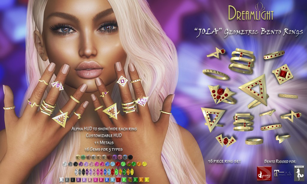"[Dreamlight] ""JOLA"" Geometric Bento Rings"
