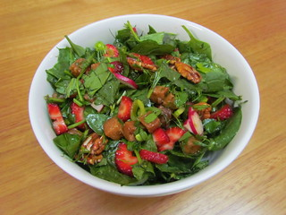 Spring Herb Salad with Maple Orange Tempeh Nibbles