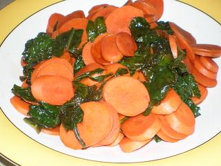 Balsamic-Glazed Carrots and Kale