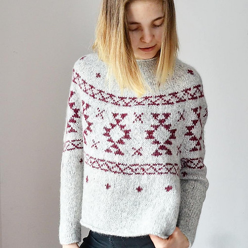 valentinasknits' Rug sweater that dhe knit her daughter is fabulous!