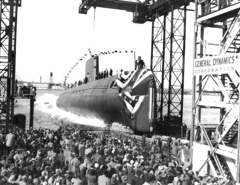 Launch of USS Nautilus (SSN-571) on January 21, 1954.