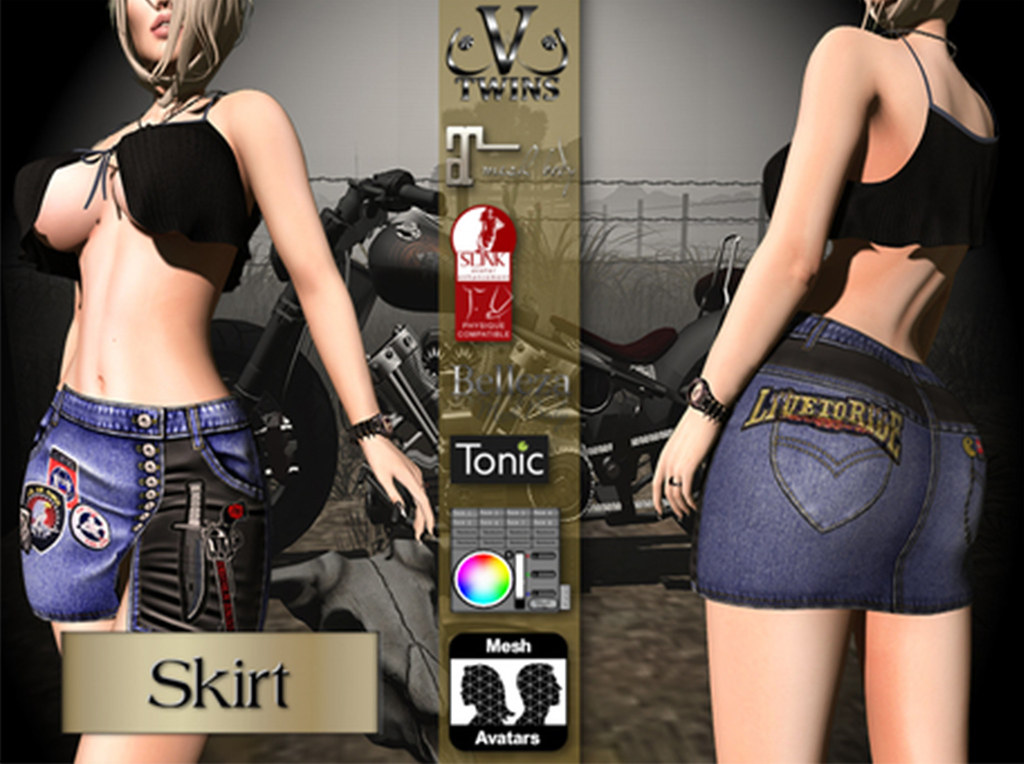 V-Twins Biker Clothes – Individual Items Mesh Skirt – Flare Collection (Slink Belleza & Maitreya)