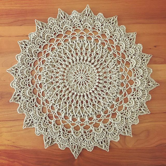 The doily is done ✅ Ran out of yarn so I wasn't able to do the last two rounds buuuuuuut it's fine. #crochet #doily