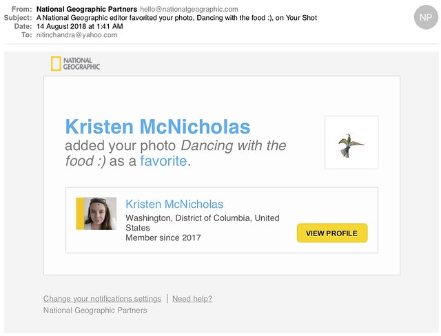 A National Geographic editor favorited your photo Dancing with the food  on Your Shot