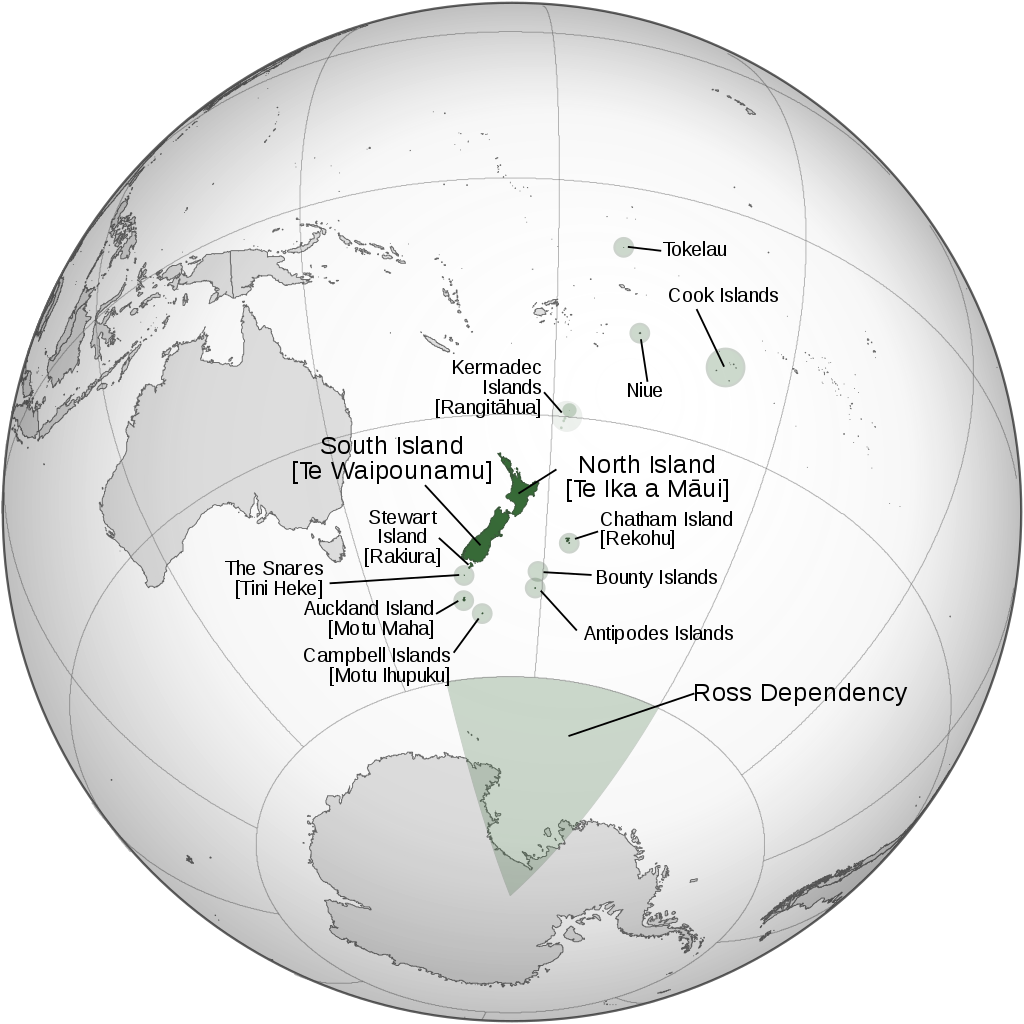 Location of New Zealand and Dependencies